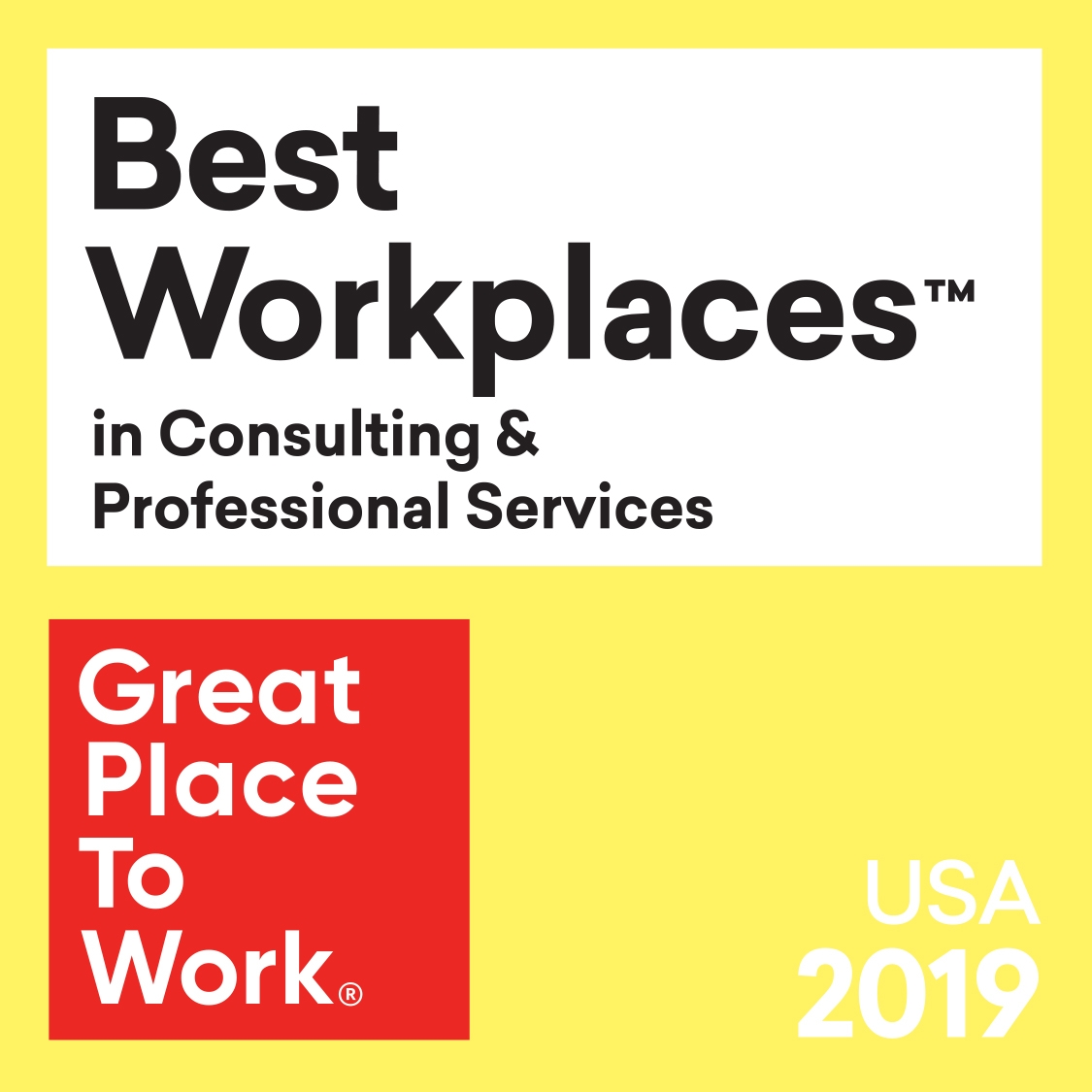 award Best Workplaces in Consulting & Professional Services, Great Place to Work